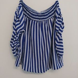 Chic Striped Off-the-Shoulder Blouse